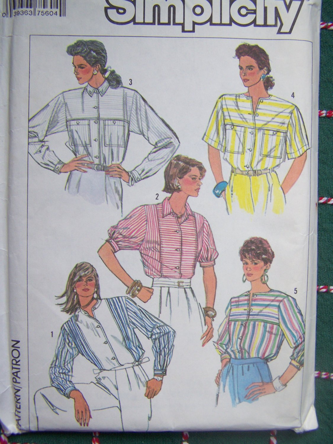 Uncut Vintage Sewing Pattern 7560 Misses Button Up Shirts 16 18 20