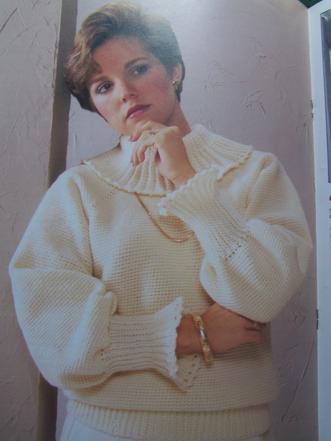 3 Vintage Crochet Patterns Misses Sweater Tops With Fashion Collars 472