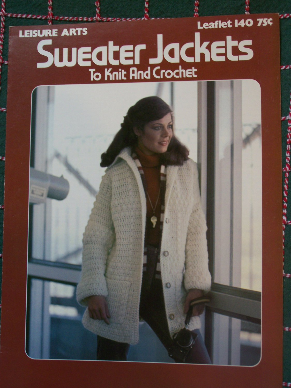 Vintage 1970's Womens Sweater Jackets Knitting & Crochet Patterns 140