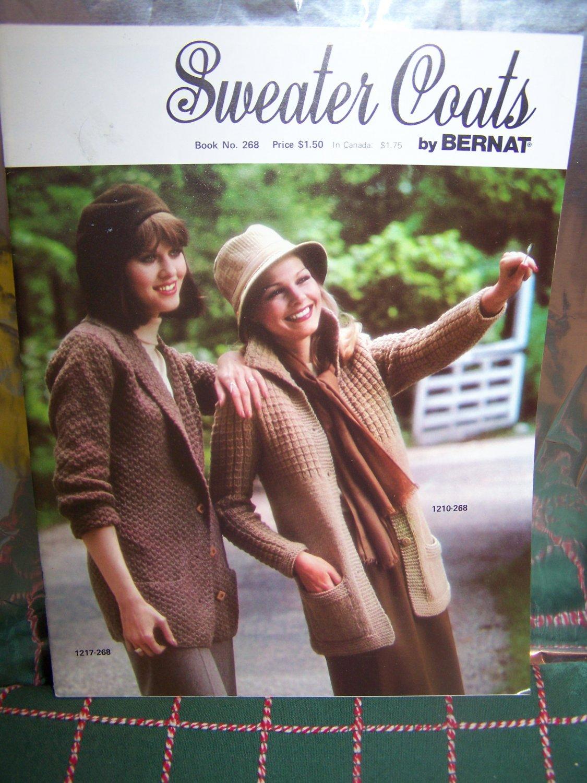 NEW 10 Vintage Bernat Misses Sweater Coats Jackets Knitting Patterns Book 268