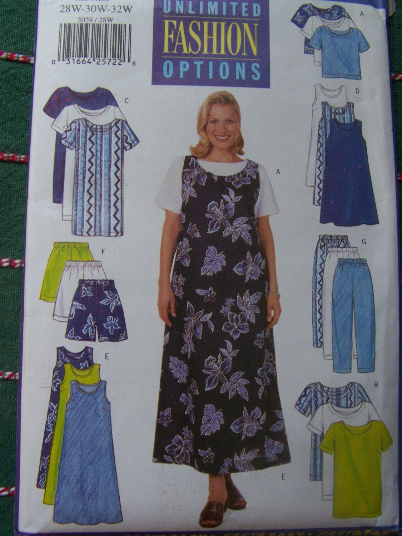 Uncut Womens 28 20 32W Sewing Pattern 5058 Dress Jumper Top Tunic Shorts Pants Wardrobe