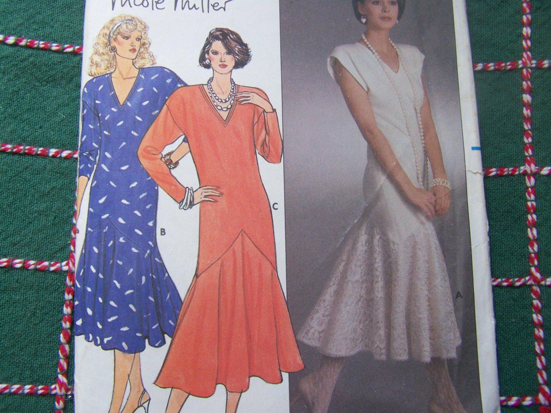 Uncut Vintage Designer Nicole Miller Fishtail Cocktail Dress Sewing Pattern 3162