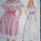 Uncut Vintage Vogue Sewing Pattern 8980 Misses Peasant Gypsy Dress Off Shoulder 14 16 18