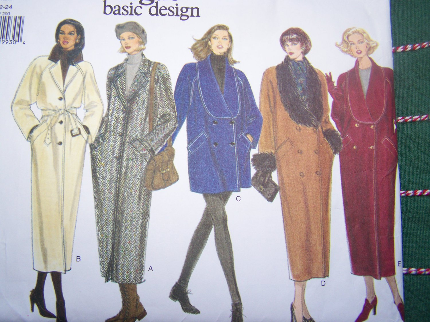 Uncut Vintage Vogue Coat Jacket Sewing Pattern 1445 Double Single Breasted 20 22 24