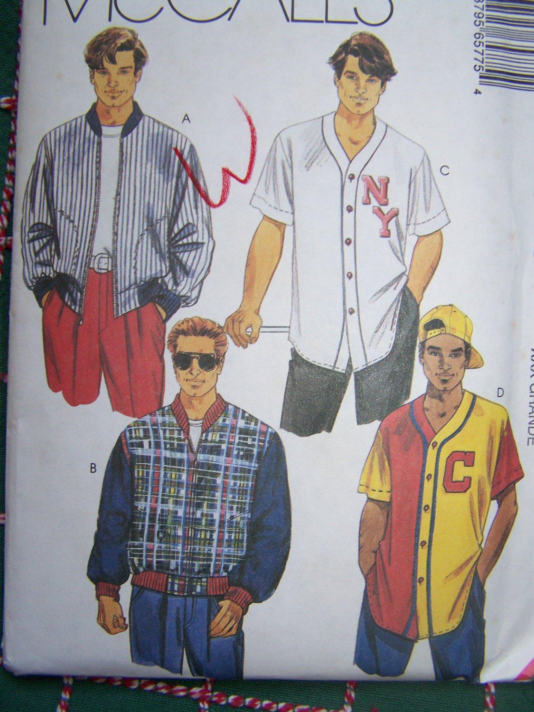 Uncut Mens XXXL Athletic Jacket Baseball Shirt McCalls Sewing Pattern 6577