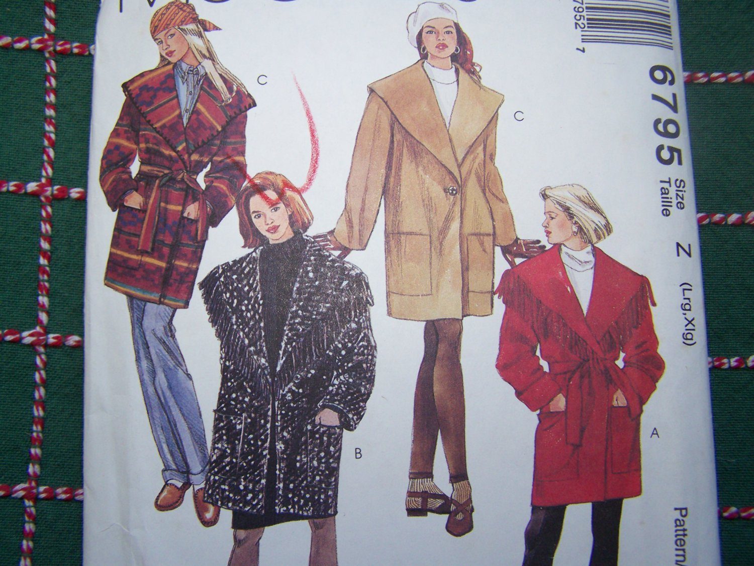 Uncut Womens 16 18 20 22 Shawl Collar OverSized Coat Lined or Unlined Sewing Pattern 6795