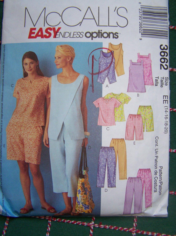 Uncut Misses Sewing Pattern 3662 Tunic Top Capri Pants Shorts 14 16 18 20