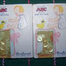 """11 Vintage ABC Genuine Pearl Baby Buttons White Clear 3/8"""" Bluebonnet Brand"""
