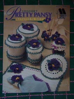 New Annies Attic Crochet Patterns Pretty Pansy Kitchen Set 8B079