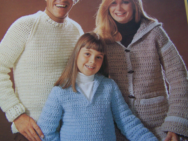 Vintage Brunswick Crochet Patterns 7734 Ladies Hoodie Cardigan Men Pullover Girls Drawstring Sweater