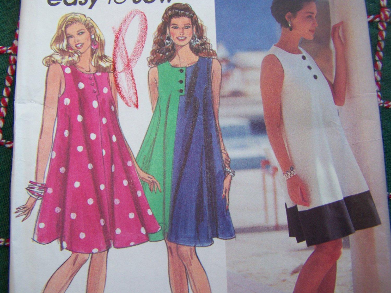 Uncut Sewing Pattern 7925 L XL Flared Tent Dress Colorblock Sundress 18 20 22 24
