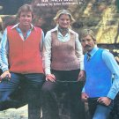 Vintage 70's Knitted Vest Patterns for Men Women Cardigan & Pullovers 111