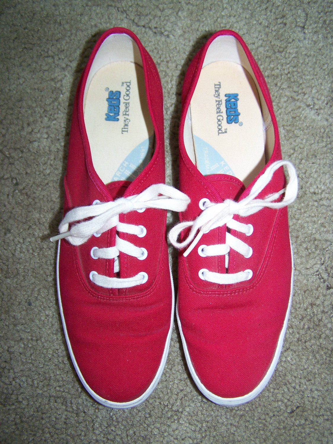 Red Vintage Keds Womens Canvas Tennis Shoes Sneakers 8.5