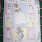 Uncut Sewing Pattern 3063 Baby Christening Gown Rompers Onesies Bonnets Newborn S M L