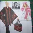 Uncut Sewing Pattern 4343 Misses Fleece Poncho Shawl Tote Bag Hat XXS XS S M