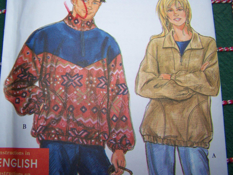 Uncut Sewing Pattern 9855 Unisex 1/2 Zip Long Sleeve Shirts Tops XS S M L XL