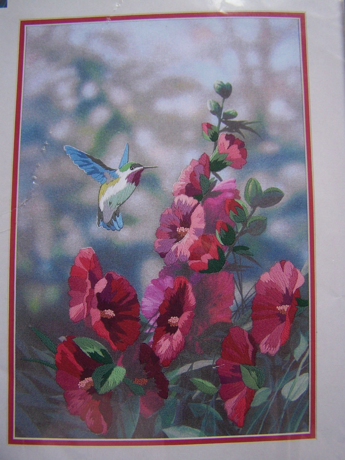 New Hollyhocks in Bloom Crewel Embroidery Craft Kit Sunset Dimensions 11127