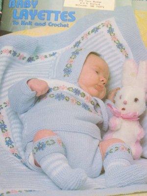 5 Vintage Baby Layette Sets Knitting & Crochet Patterns 125 Newborn Birth - 3 Months