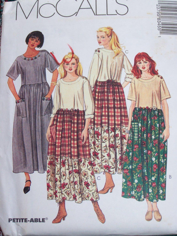 uncut Womens Dress Sewing Pattern 8345 Empire Waist XXL Plus Size 24 26 W