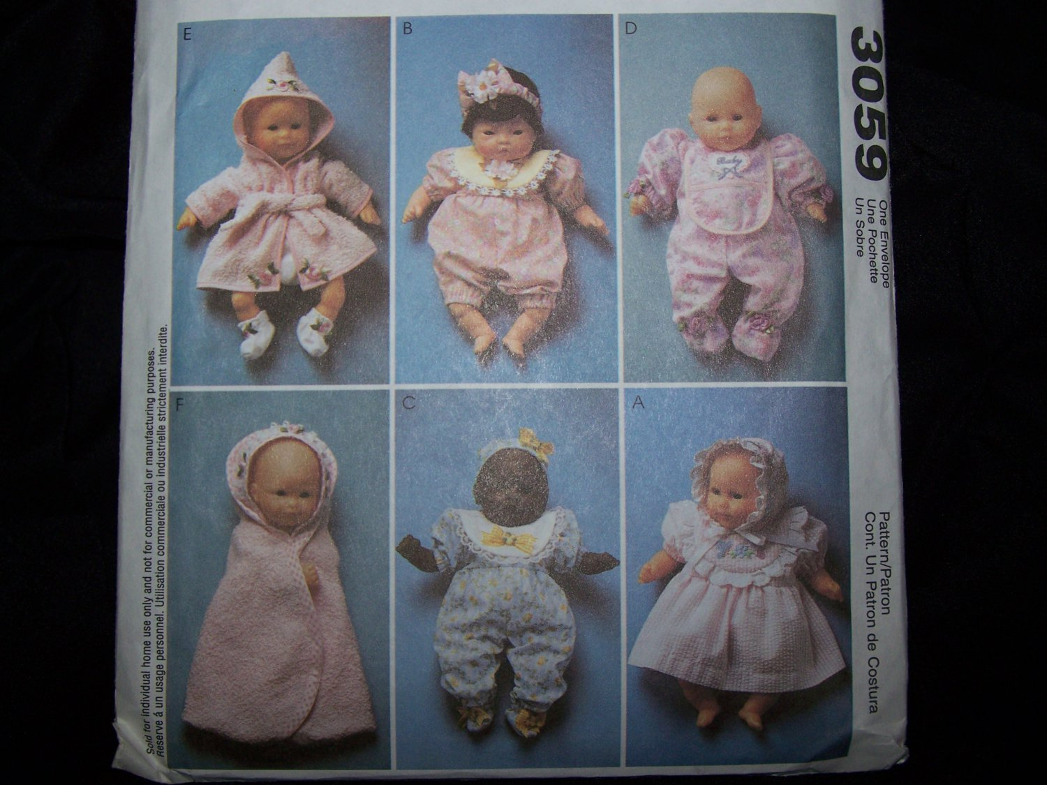 Uncut Sewing Pattern 3059 Baby Dolls Clothes 8 10 11 13 14