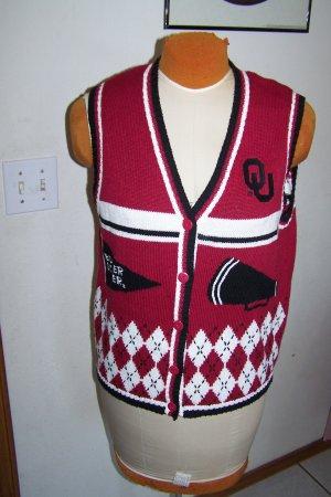Womens OU Oklahoma Sooners Sports Medium Knitted Sweater Vest Birch Bros Football Basketball