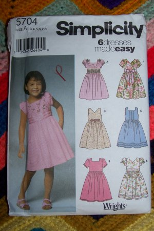 6 Uncut Girls Sewing Patterns 5704 Summer Dress Sundress 3 4 5 6 7 8 Free USA S&H