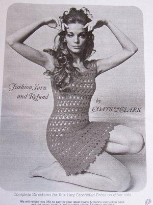 1960's Vintage Crochet PDF File Pattern Crocheted Mini Lacy Twiggy Dress 6 8 10 12 14