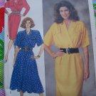 Uncut Vintage 80's Sewing Pattern 3389 Misses Dress Mock Wrap Blouson Bodice 14 16 18