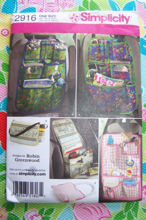 New Simplicity Sewing Pattern 2916 Car Organizer Set Vacation Travel Must Have