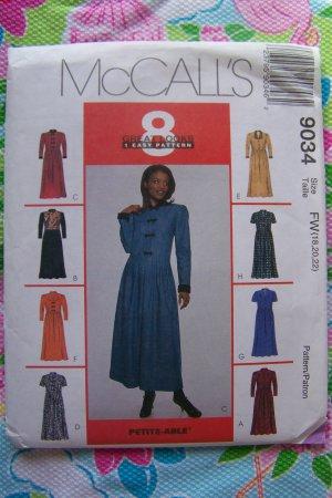 Uncut McCall's Sewing Pattern 9034 Plus Size Misses Shirtdress 18 20 22