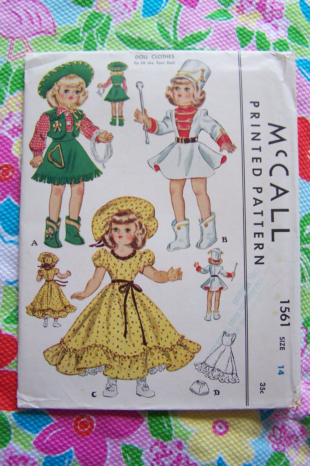 """New 50's Doll Clothing Sewing Patterns McCall 1561 Uncut Original Toni Dolls Collector 14"""""""