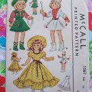 New 50's Doll Clothing Sewing Patterns McCall 1561 Uncut Original Toni Dolls Collector 14""