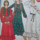 Uncut Vintage Sewing Pattern 6263 Loose Dress Scoop Neck Hem Ruffle Full Raglan Sleeves 8 10 12
