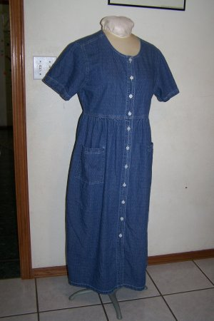 Womens Erika & Co Denim Polka Dot Jean Dress Short Sleeves Long Midi Length
