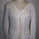 Womens BFA Classics Crochet Doily Filigree Jacket Cover Up Off White Beige Medium
