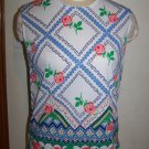NWT Vintage K Mart Womens Roses Shell Tank Top Sleeveless Shirt Zig Zag Border FREE S&H USA