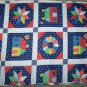 Vintage Blue Cotton Fabric Cheater Country Quilt Calico Blocks By the Yard