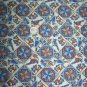 Vintage Colonial Bluebird Cotton Fabric Blue Brown Bird By the Yard