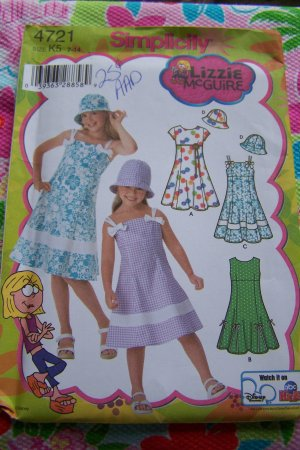 Uncut Sewing Pattern 4721 Girls 7 8 10 12 14 Summer Dress Sundress Hat Lizzie McGuire
