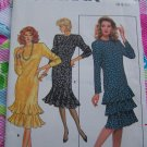 Vintage Uncut Misses 6 8 10 Sewing Pattern 5717 Fitted Straight Dress Hem Flounce Variations