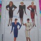 Vintage Uncut 1980's Dress Sewing Pattern 8342 Slim Skirt Jewel V Neck Tulip Hem