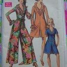 Uncut Vintage Womens Pantdress Sewing Pattern 7956 Shorts Romper Ruffled V Collar Wide Legs