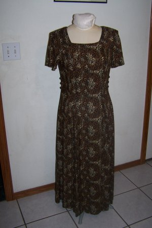 Womens Stonebridge Long Maxi Dress Leopard Animal Print Square Neck Short Sleeves