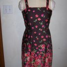 Womens Madison Leigh Sz 12 Sundress Built in Bra Brown w Bright Flowers Coral Orange Pink Dress