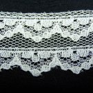5 yards Vintage White Flat Lace Scalloped Edge Flat Side 1 1/8 Wide