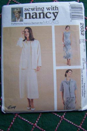Womens XXL 24 26 Plus Size Dress & Unlined Jacket Sewing With Nancy Zieman Pattern 2652