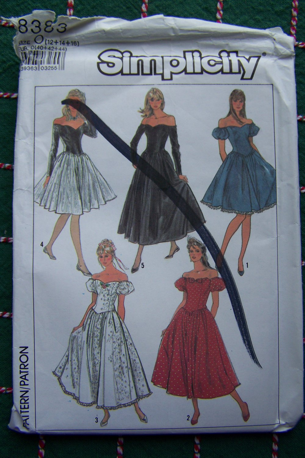 Uncut 1980s Cocktail Dress Sewing Pattern 8383 Off Shoulder Evening Gown 12 14 16