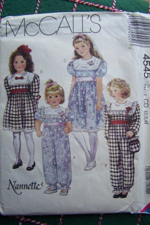 Uncut Toddler Girls 2 3 4  Vintage Dress Jumpsuit Purse McCall's Sewing Pattern 4545