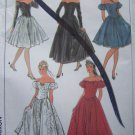 Vintage 6 8 10  Misses Off Shoulder Evening Gown Cocktail Dress Uncut Sewing Pattern 8383