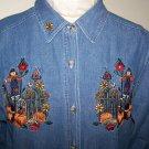 Womens Large Shirt Bobbie Brooks Fall Thanksgiving Denim Button up Jeans Top Scarecrow Pumpkins